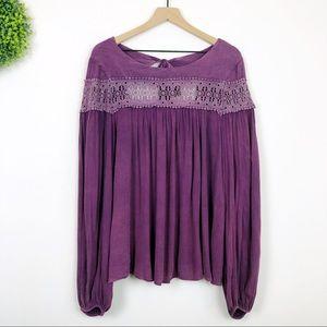 Altar'd State | Purple Crochet Lace Peasant Blouse